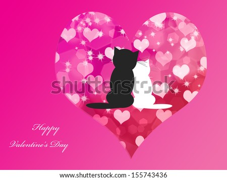 Abstract Valentine's day background with cats and stars