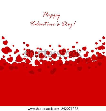 Abstract Valentines background with red hearts, illustration.