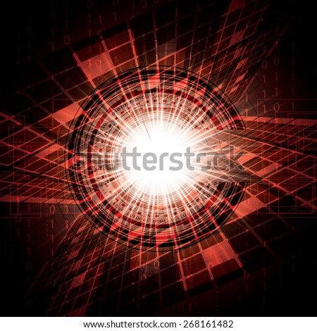 Abstract vector futuristic red bright background illustration  - stock photo