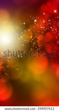 Abstract vertical banner with blurred lights and stars - stock photo