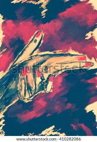 abstract vertical ink saturated watercolor painting, woman hand like gun