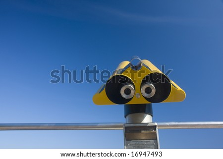 abstract view of a binocular on a sunny day in southern france - stock photo