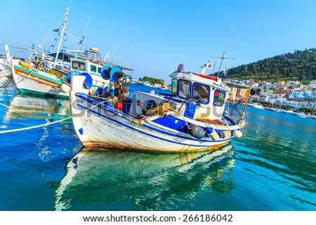Abstract view of a fishing boats in port, Greece - stock photo