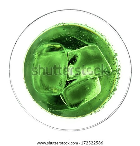 Abstract view of green cocktail with ice - stock photo