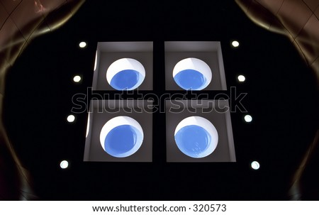 Abstract view of skylights inside Melbourne International Airport Terminal - stock photo