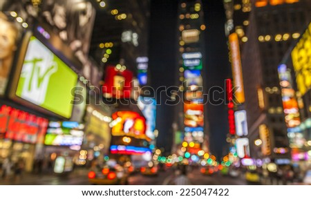 Abstract view of the lights of Times Square in New York city at night. - stock photo
