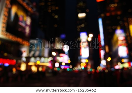 Abstract view of Times Square lights at night - New York City, USA (de-focused to avoid copyright infringements)