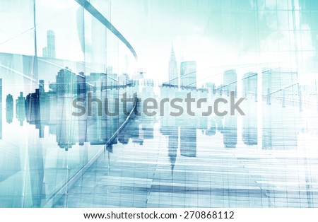 Abstract View of Urban Scene and Skyscrapers - stock photo