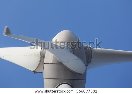 Abstract view of Windturbine producing alternative energy