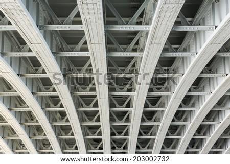 Abstract view under the Blackfriars Railway Bridge in London, UK.  - stock photo