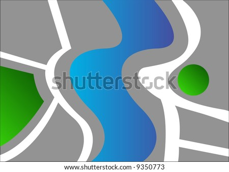 abstract village map - stock photo