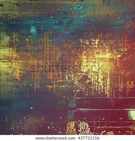 Abstract vintage background with faded grungy texture. Aged backdrop with different color patterns: yellow (beige); brown; green; blue; red (orange); purple (violet) - stock photo