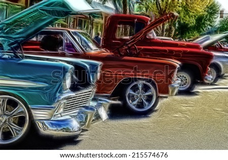 Abstract Vintage Car Show Background - stock photo