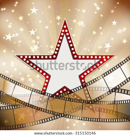 abstract vintage cinema background with red star. raster version - stock photo