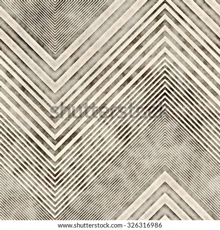 Abstract vintage distressed decorative zigzag embossed tile. Seamless pattern. - stock photo
