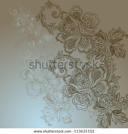 abstract vintage elegant background with a textile ornament. raster version - stock photo