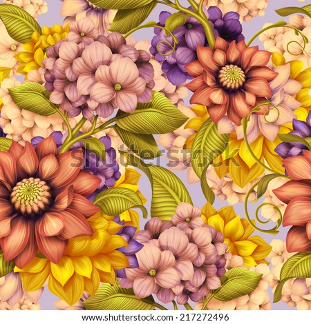 abstract vintage floral seamless pattern, colorful background illustration - stock photo