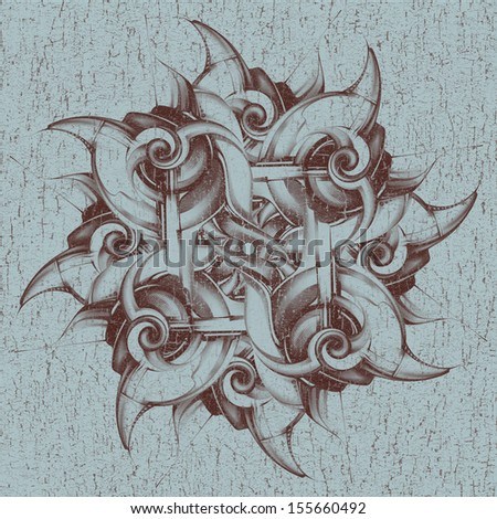Abstract vintage pattern with 3D-effect on an old paper. The repetitive element in the form of a spiral or snail. Stereo image, three-dimensional image. Graphic drawing, hand drawing, pencil and paper - stock photo