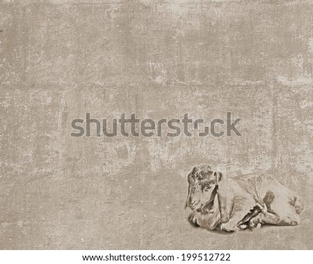 Abstract vintage textured background with a sketch of a little sleepy goatling - stock photo