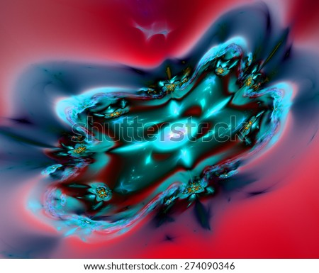 Abstract vivid shining red,cyan,blue plastic looking distorted twisted background - stock photo
