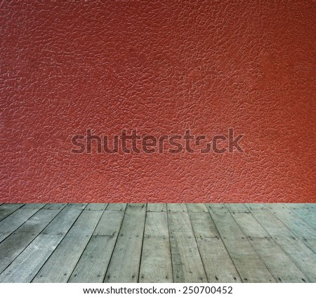 Abstract wall background with wooden paving - stock photo