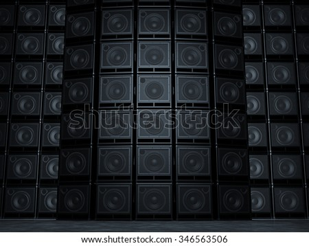 Abstract wall of guitar amps - stock photo
