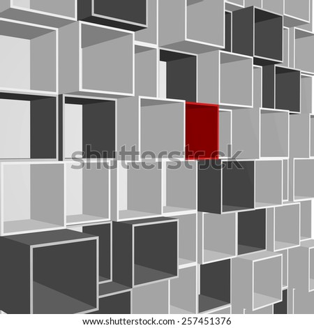 Abstract wall with open boxes