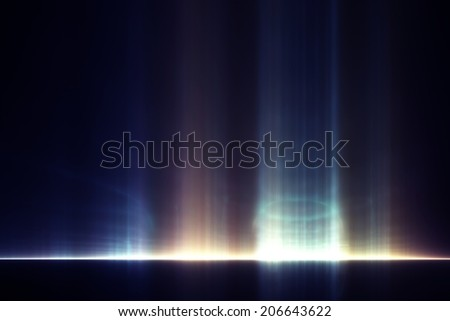 Abstract wallpaper: ghostly light rays against a black background - stock photo