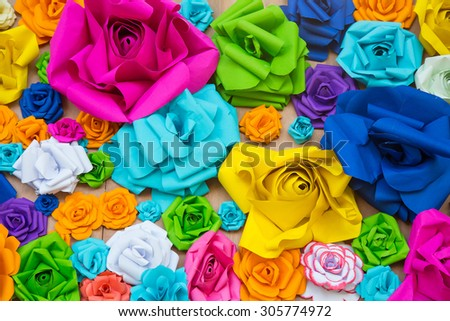 Abstract wallpaper rainbow Colorful Rose Flower Paper background - stock photo