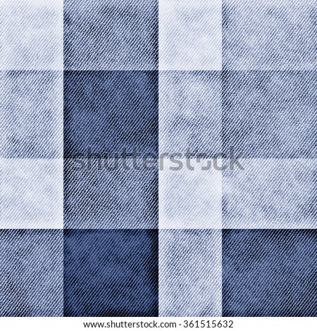 Abstract washed indigo checked background. Seamless pattern. - stock photo