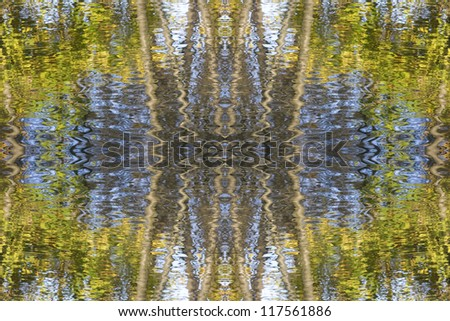 Abstract water and leaves Indian summer wallpaper - stock photo