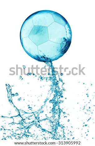 Abstract water soccer ball splash isolated on white background. - stock photo