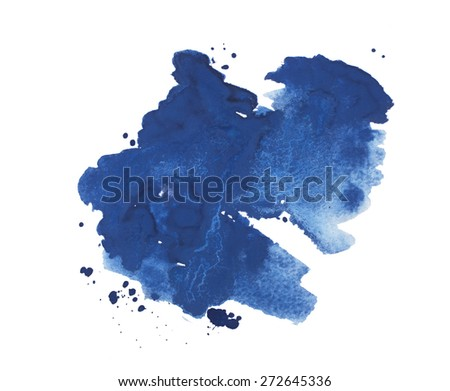 Abstract watercolor aquarelle hand drawn colorful blue art paint splatter stain on white background - stock photo