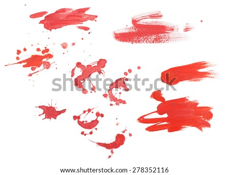 Abstract watercolor aquarelle hand drawn colorful shapes art red color paint or blood splatter stain splash and spray - stock photo