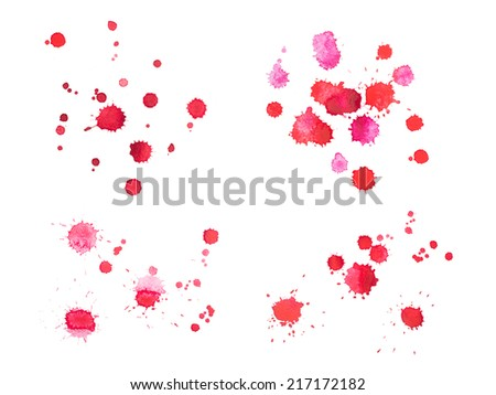 Abstract watercolor aquarelle hand drawn red blood drop splatter stain art paint on white background - stock photo