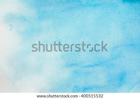 Abstract watercolor background - Blue sky watercolor paint - stock photo