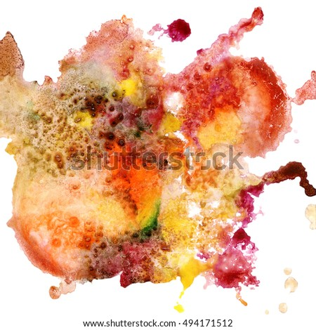 Abstract watercolor background, warm colors, hand painted