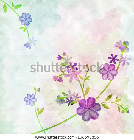 abstract watercolor blue flowers on green background illustration - stock photo