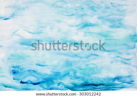 Abstract watercolor blue sea background. - stock photo