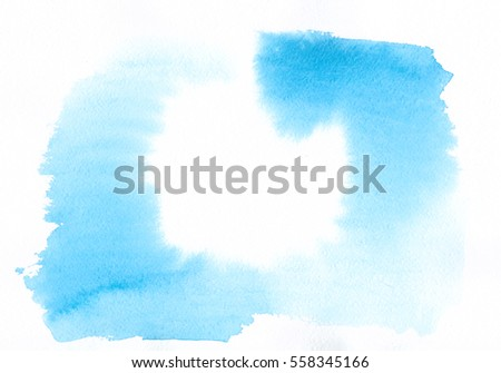 Abstract watercolor frame with space for text, hand painted spots and strokes light blue