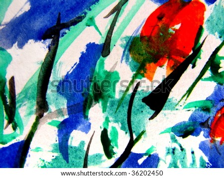 Abstract Watercolor Garden - stock photo