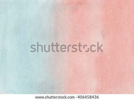 Abstract watercolor hand painted background. Pink and blue  watercolour texture gradient. Pastel colored palette. LightCyan and Salmon gradient background. - stock photo