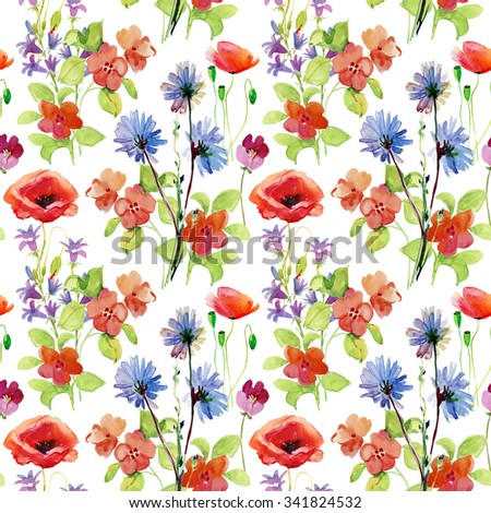 Abstract watercolor hand painted background with flowers. Floral decor. Original floral seamless background. Bright colors watercolor, autumn-summer botanical elements.