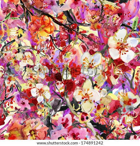 Abstract watercolor hand painted backgrounds with cherry and plums flowers - stock photo