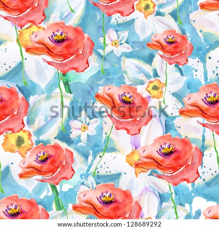 Abstract watercolor hand painted backgrounds with roses. - stock photo