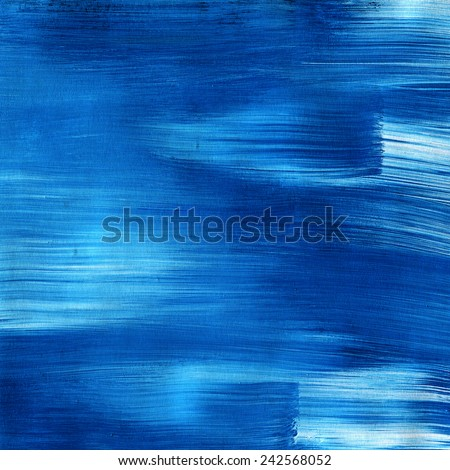 Abstract watercolor hand painted brush strokes. Horizontal striped background. blue and white brush strokes. paper texture. - stock photo