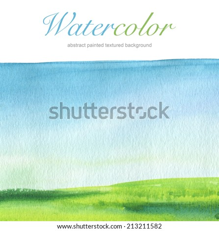 Abstract watercolor hand painted landscape background. Textured paper. - stock photo