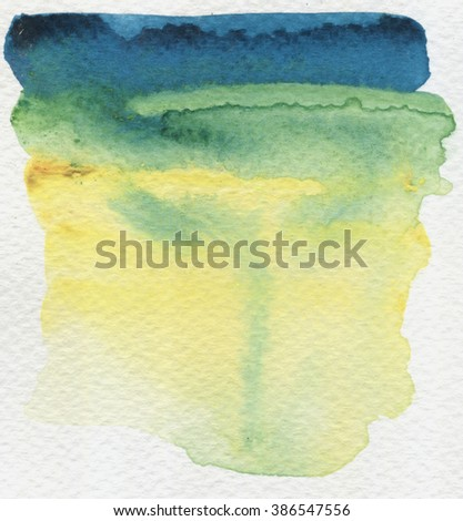 Abstract Watercolor Hand Painted Texture. Watercolour blue and Green stain on white background.