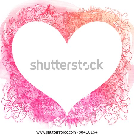 Abstract watercolor heart - stock photo