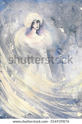 Abstract watercolor illustration depicting a portrait of a woman-winter - stock photo